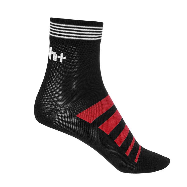 rh+ Socks Code 10 Black, White, Red | cykelstrømpe